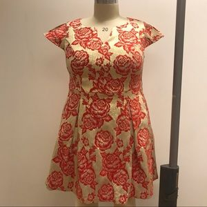 ModCloth Red/Gold Jacquard Fit and Flare Dress
